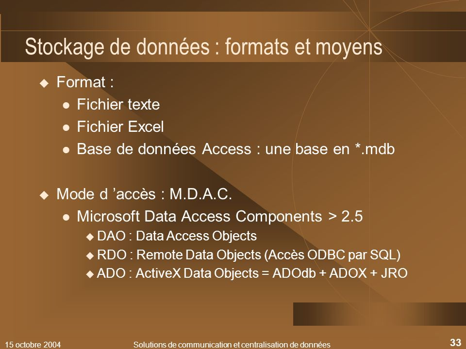 Stockage de données : formats et moyens