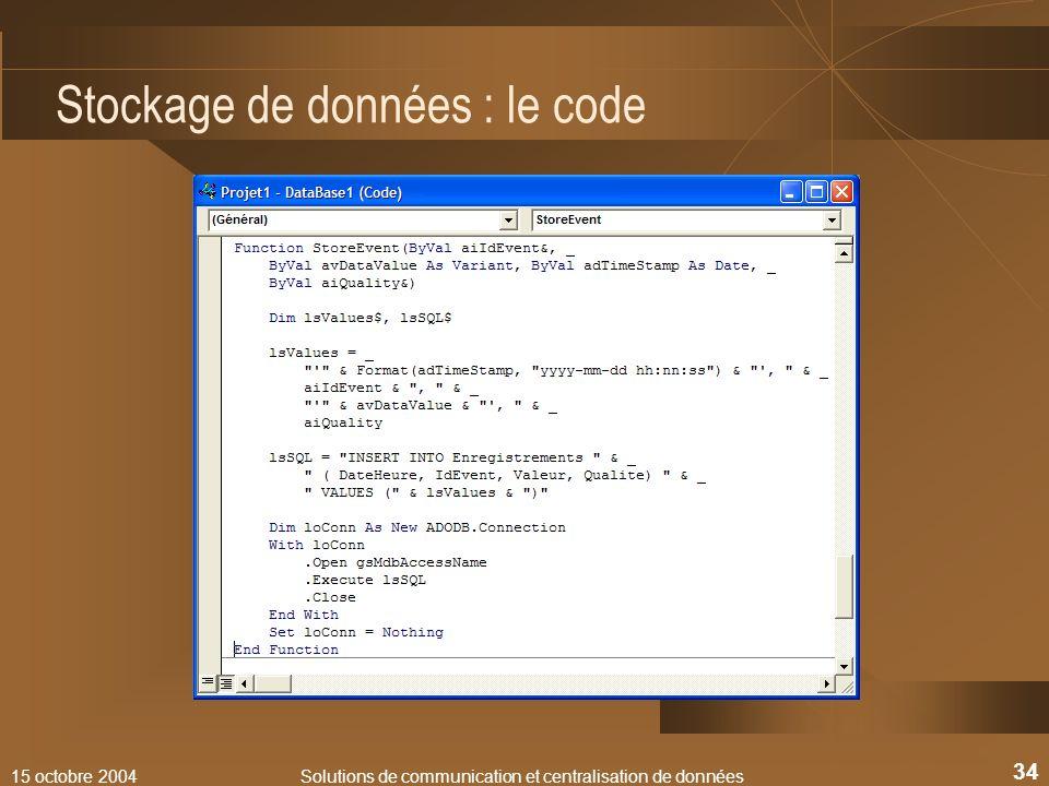 Stockage de données : le code