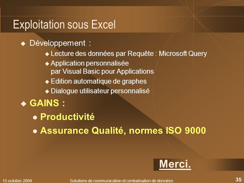 Exploitation sous Excel