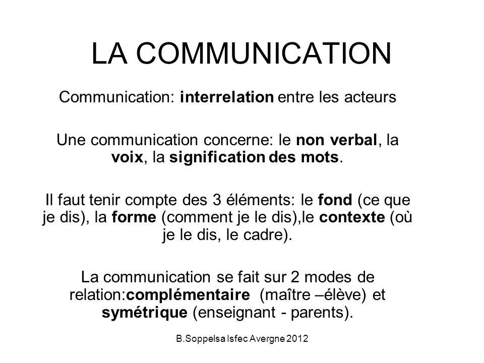 LA COMMUNICATION Communication: interrelation entre les acteurs