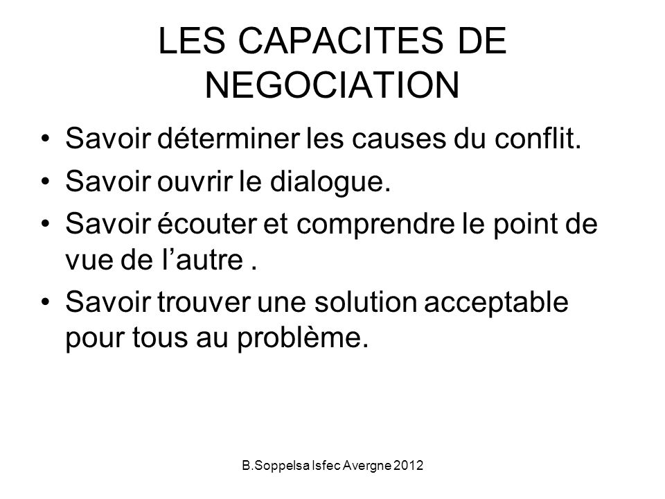 LES CAPACITES DE NEGOCIATION