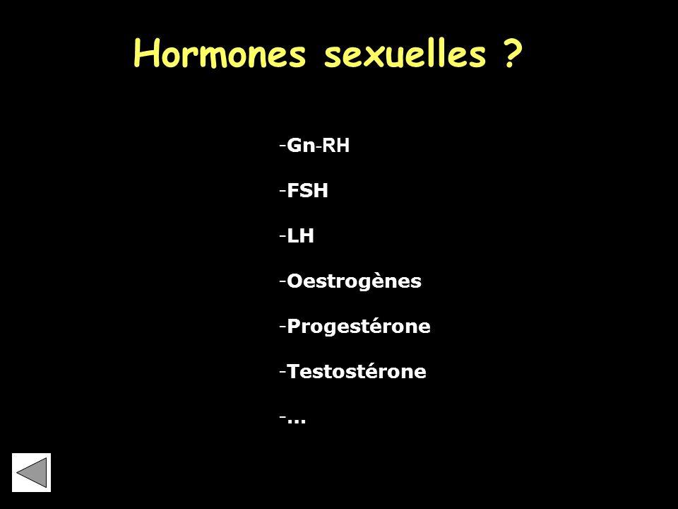 Hormones sexuelles Gn-RH FSH LH Oestrogènes Progestérone