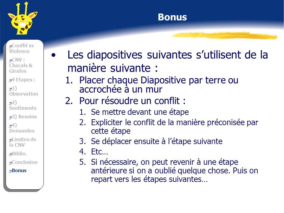Les diapositives suivantes s'utilisent de la manière suivante :