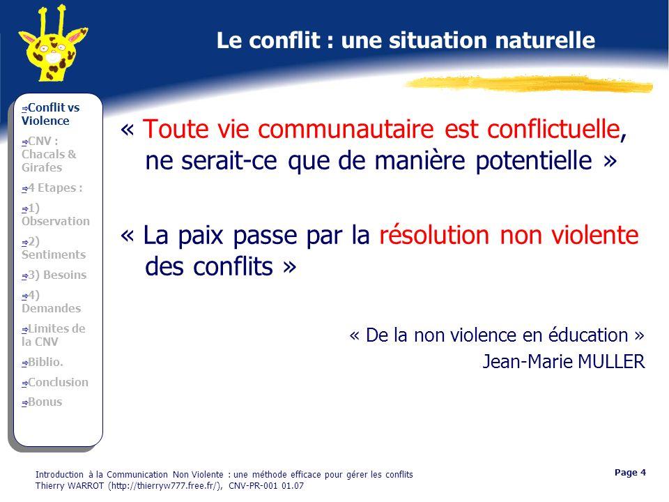Le conflit : une situation naturelle