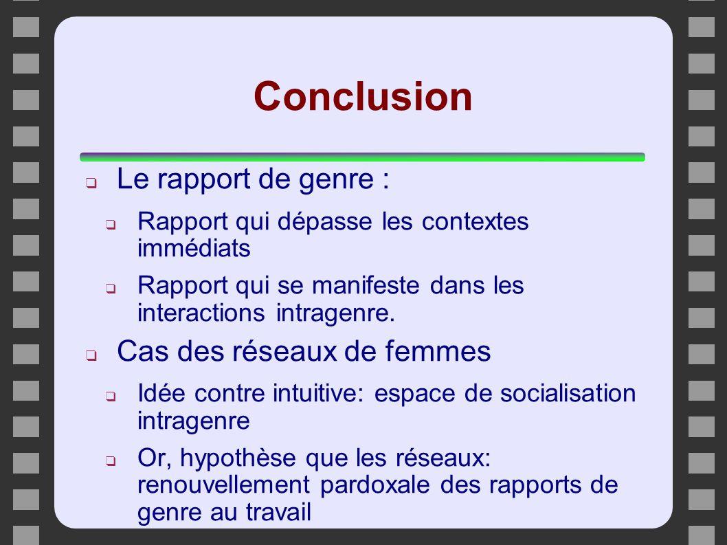 Conclusion Le rapport de genre : Cas des réseaux de femmes