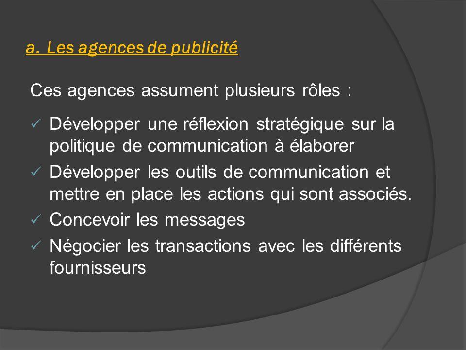 a. Les agences de publicité
