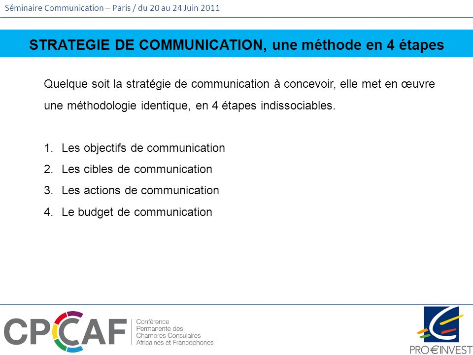 STRATEGIE DE COMMUNICATION, une méthode en 4 étapes