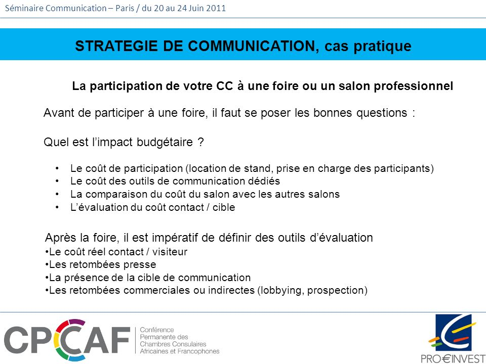 STRATEGIE DE COMMUNICATION, cas pratique