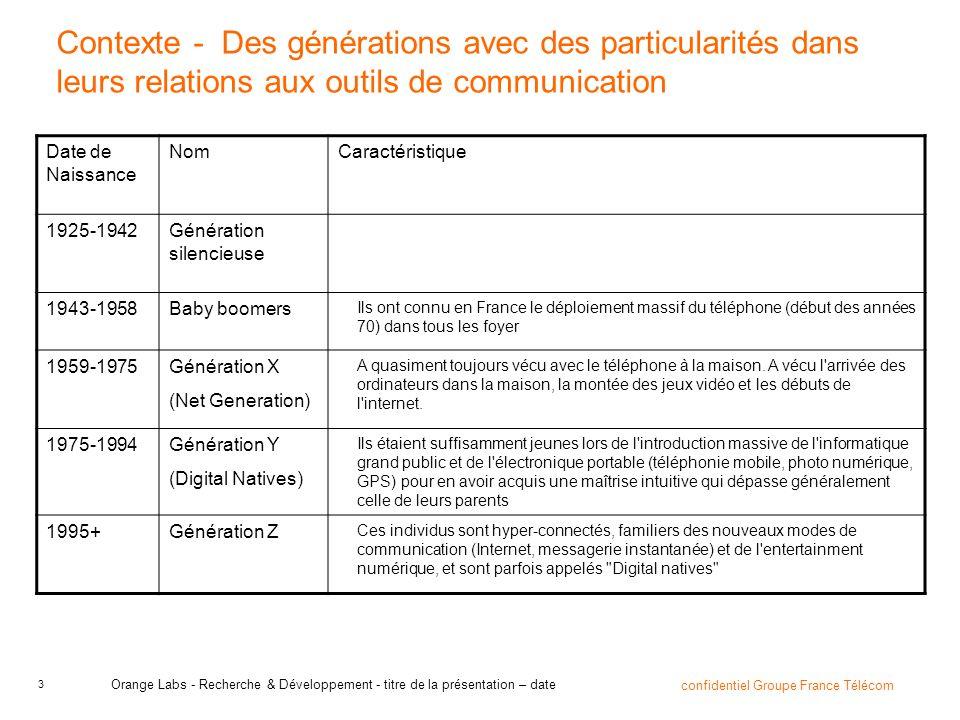 Contexte - Des générations avec des particularités dans leurs relations aux outils de communication