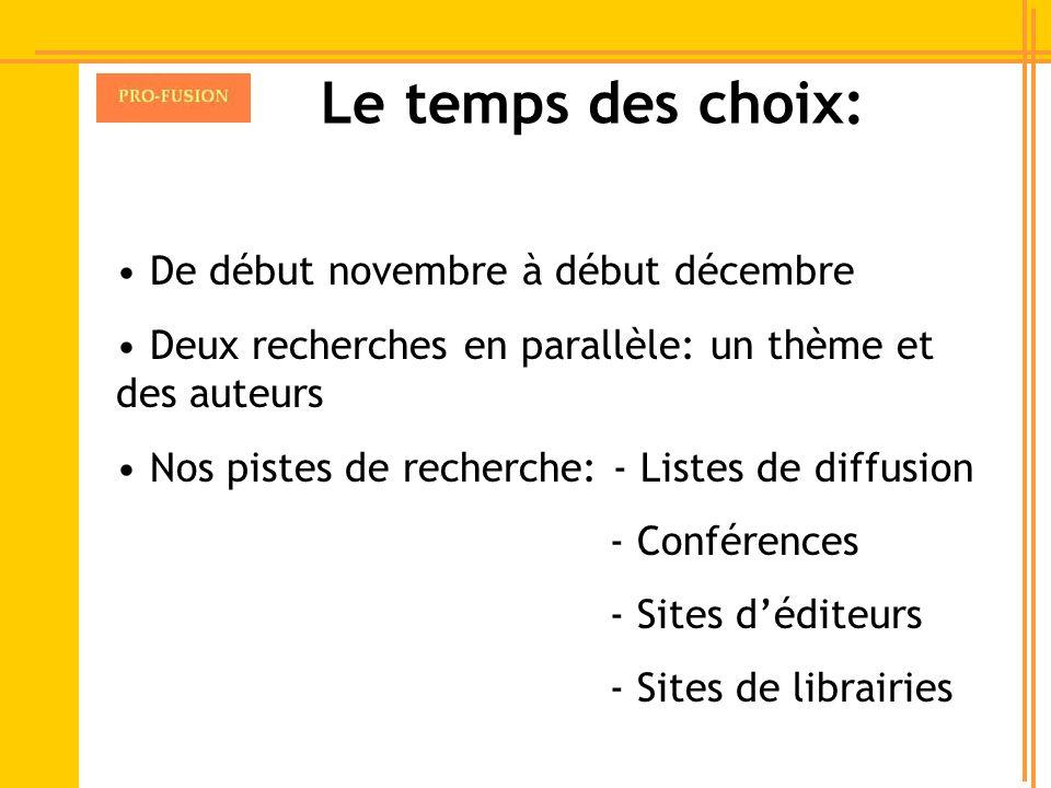 Le temps des choix: De début novembre à début décembre