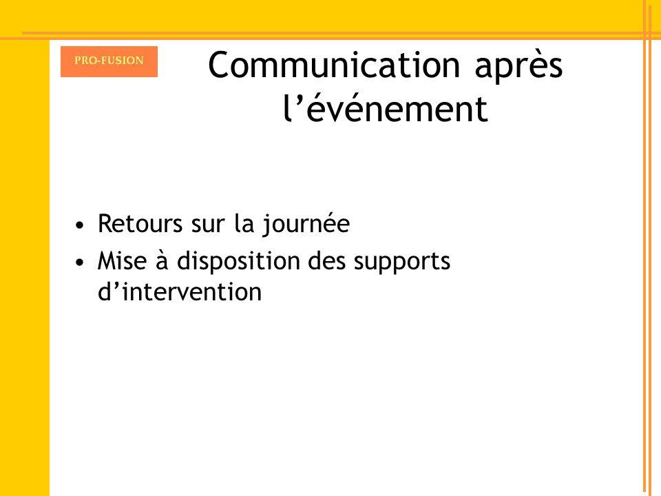 Communication après l'événement