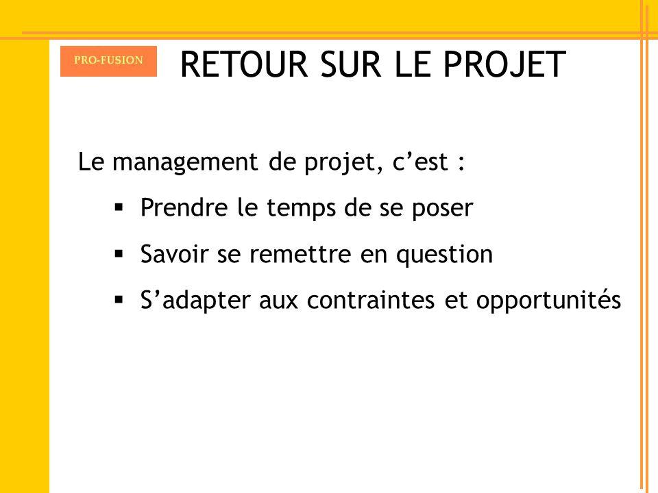 RETOUR SUR LE PROJET Le management de projet, c'est :
