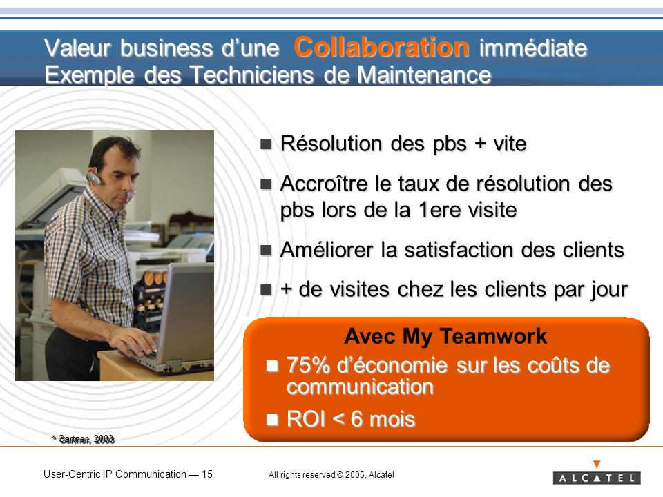 Valeur business d'une Collaboration immédiate Exemple des Techniciens de Maintenance