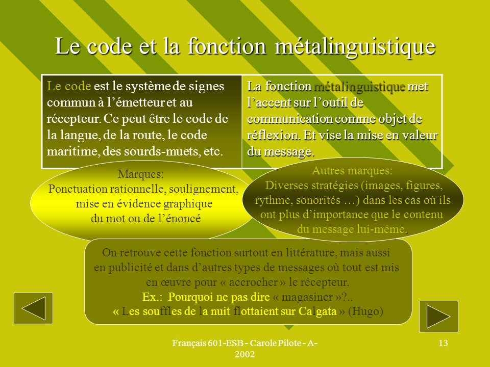 Le code et la fonction métalinguistique