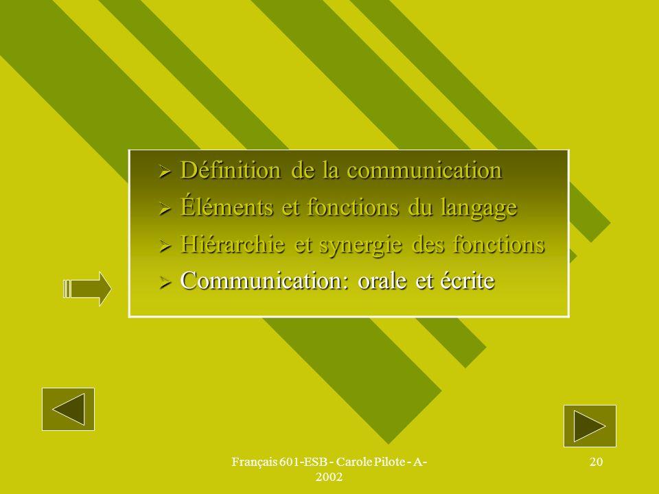 Français 601-ESB - Carole Pilote - A-2002