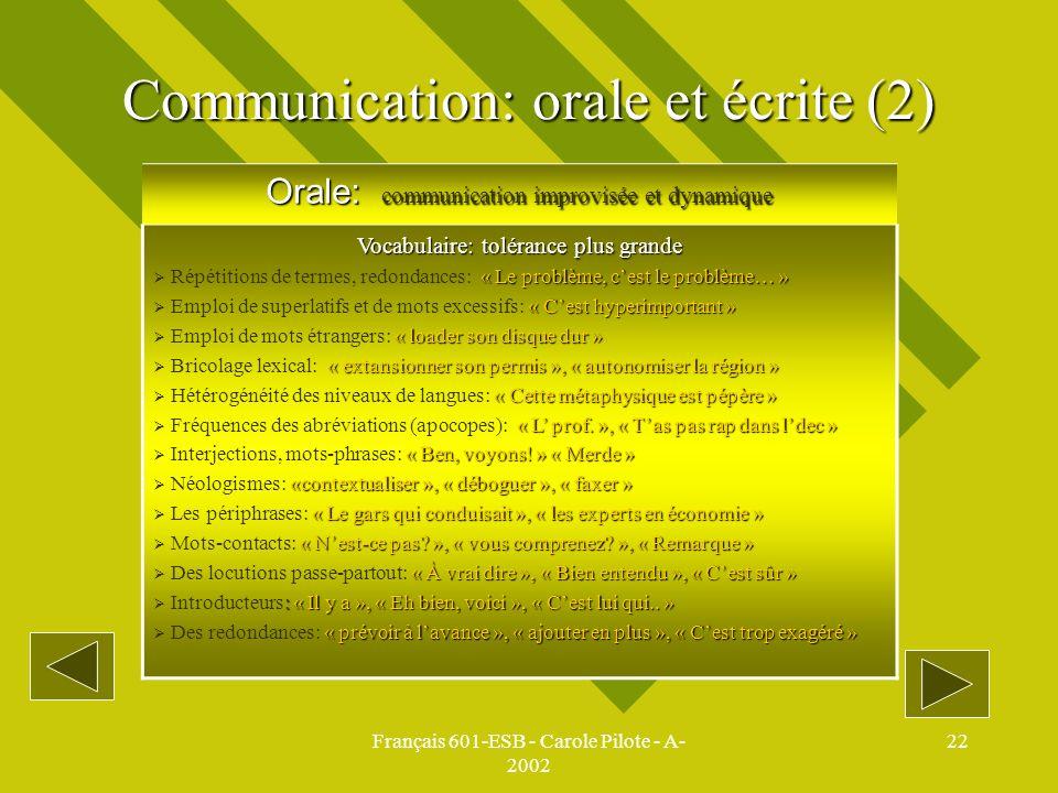 Communication: orale et écrite (2)