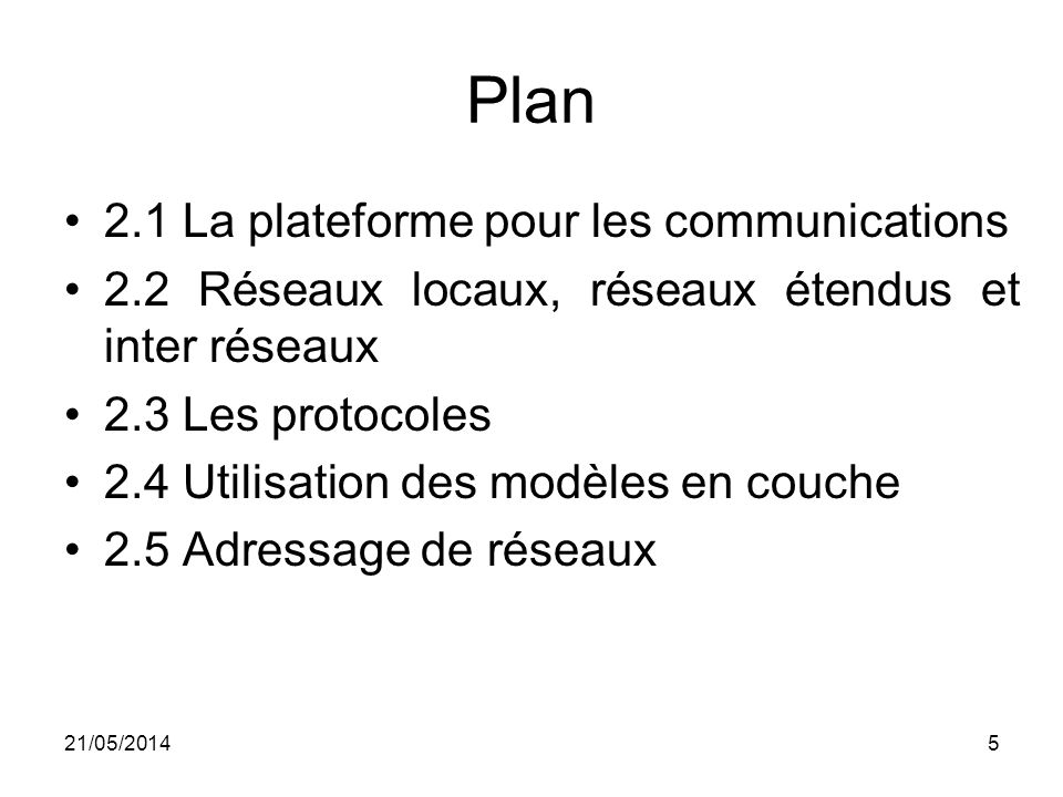 Plan 2.1 La plateforme pour les communications