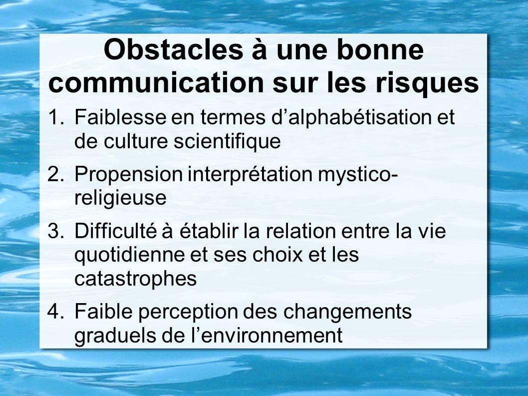 Obstacles à une bonne communication sur les risques