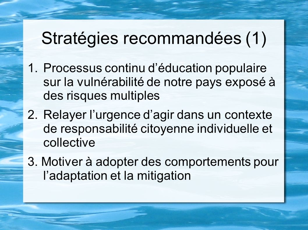 Stratégies recommandées (1)