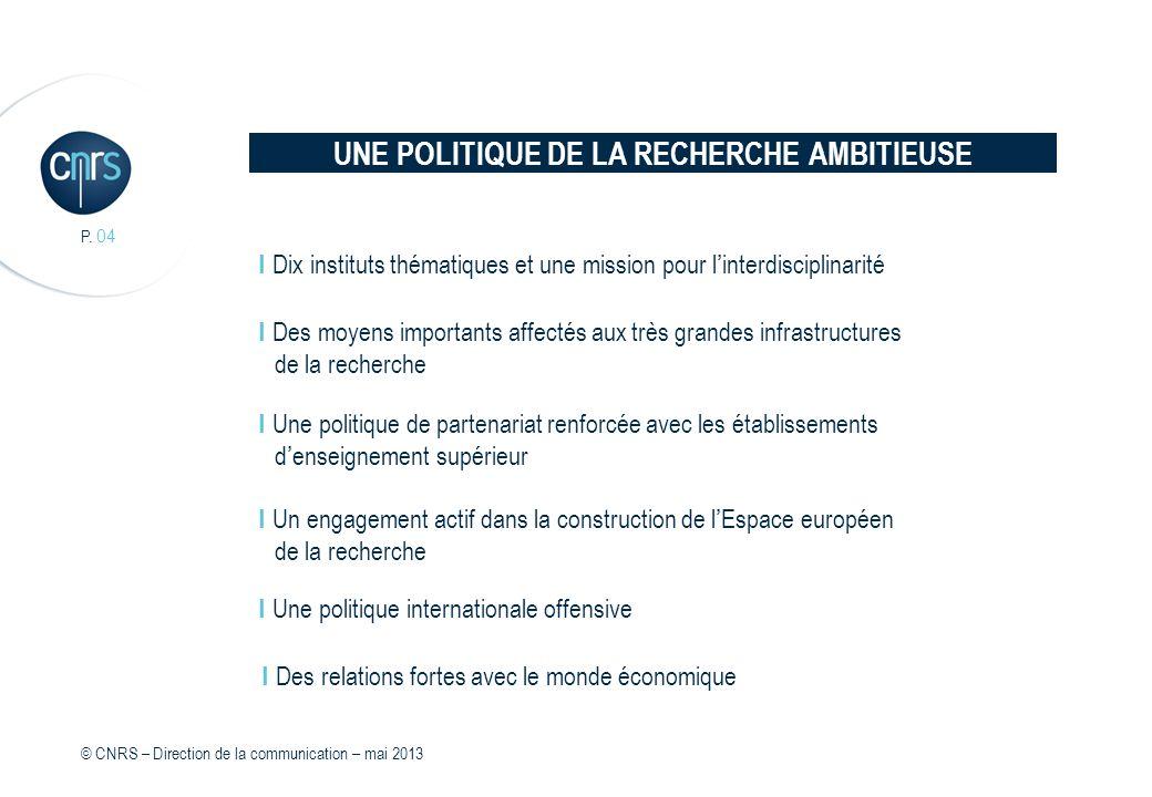 UNE POLITIQUE DE LA RECHERCHE AMBITIEUSE