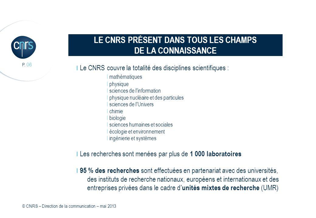 LE CNRS PRÉSENT DANS TOUS LES CHAMPS DE LA CONNAISSANCE