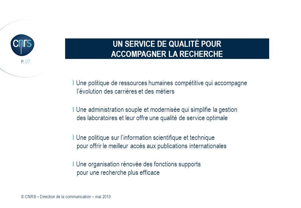 UN SERVICE DE QUALITÉ POUR ACCOMPAGNER LA RECHERCHE