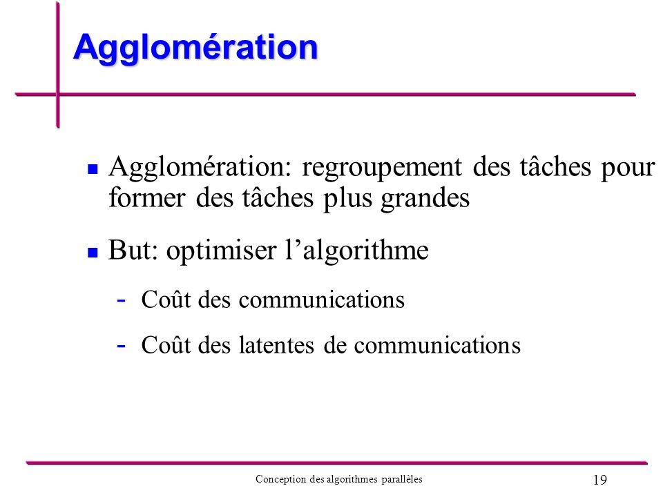 Agglomération Agglomération: regroupement des tâches pour former des tâches plus grandes. But: optimiser l'algorithme.