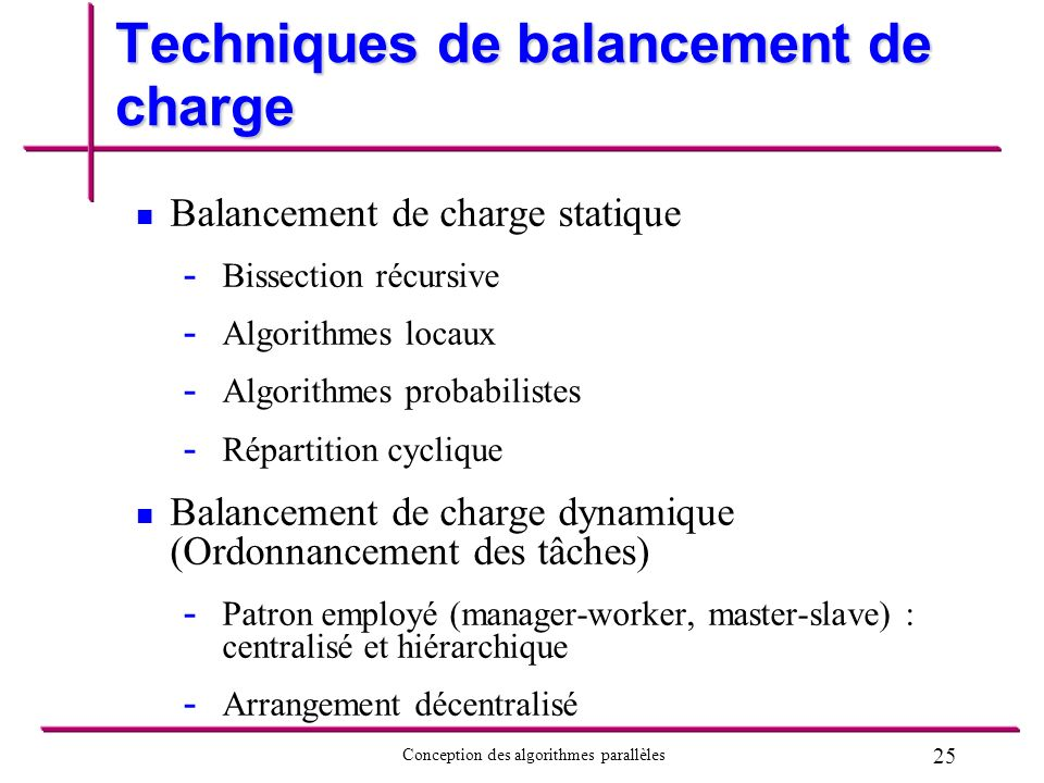Techniques de balancement de charge
