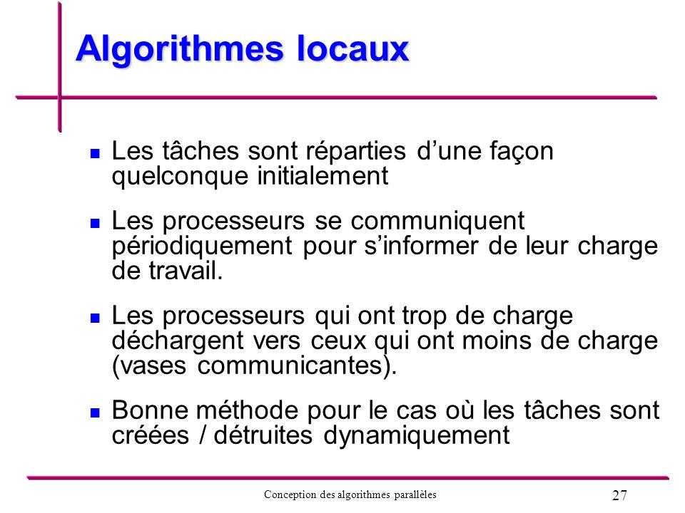 Algorithmes locaux Les tâches sont réparties d'une façon quelconque initialement.