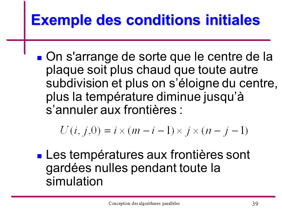 Exemple des conditions initiales