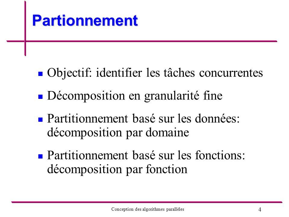 Partionnement Objectif: identifier les tâches concurrentes