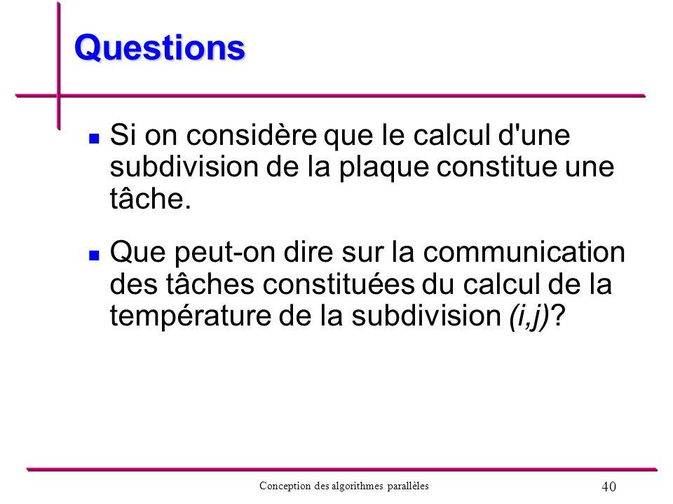 Questions Si on considère que le calcul d une subdivision de la plaque constitue une tâche.