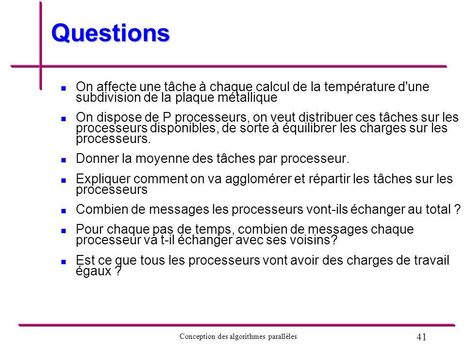 Questions On affecte une tâche à chaque calcul de la température d une subdivision de la plaque métallique.