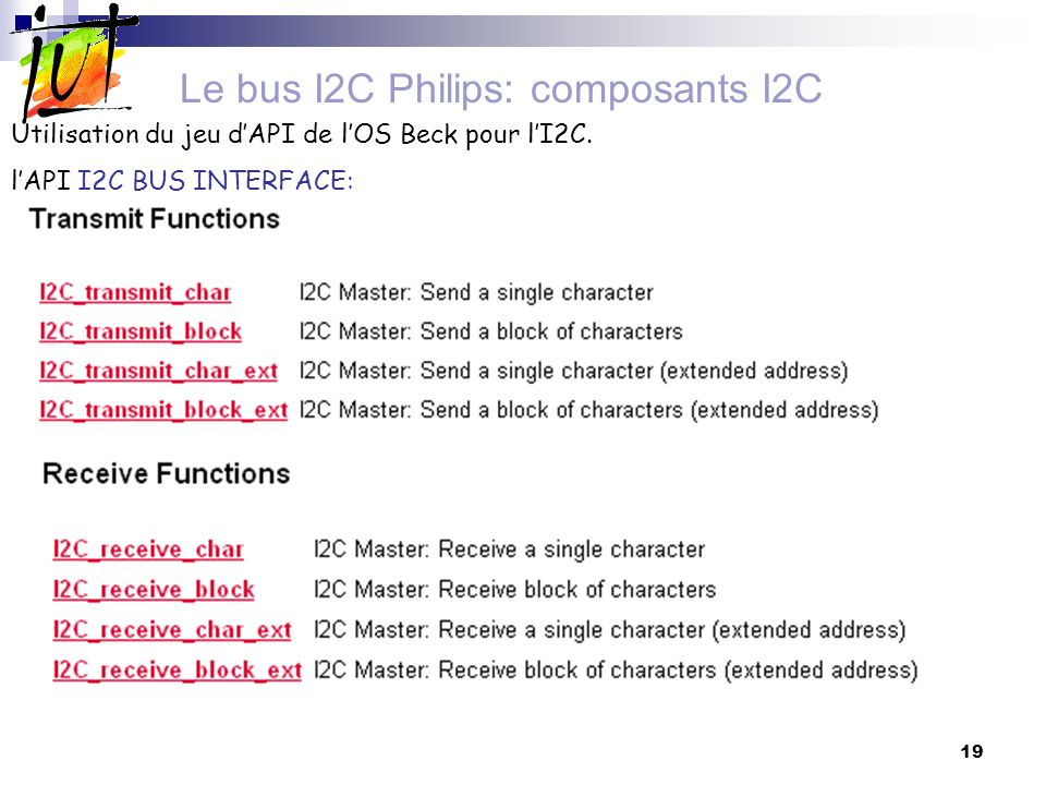 Le bus I2C Philips: composants I2C