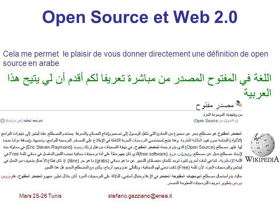 Open Source et Web 2.0 Cela me permet le plaisir de vous donner directement une définition de open source en arabe.