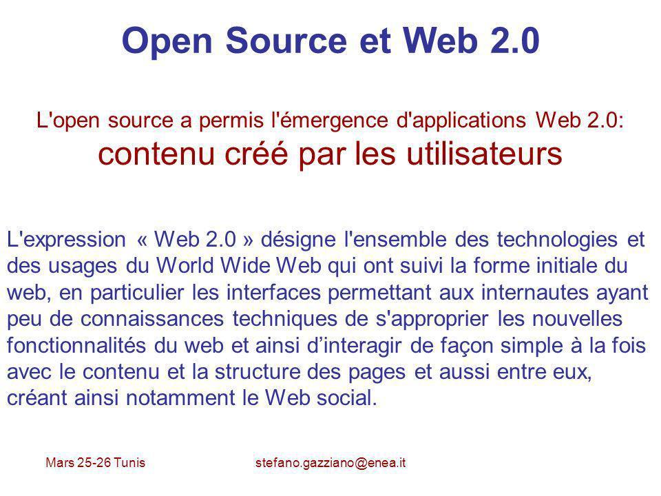 Open Source et Web 2.0 L open source a permis l émergence d applications Web 2.0: contenu créé par les utilisateurs.