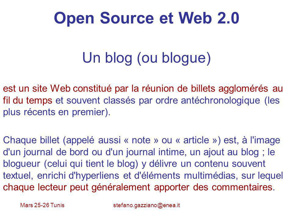 Open Source et Web 2.0 Un blog (ou blogue)