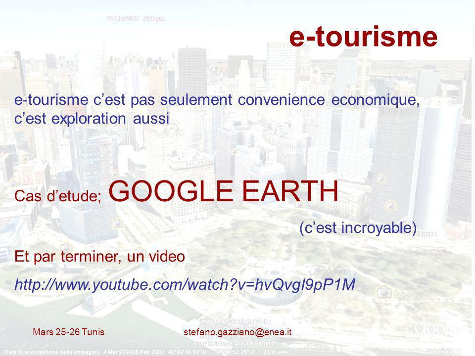 e-tourisme e-tourisme c'est pas seulement convenience economique, c'est exploration aussi. Cas d'etude; GOOGLE EARTH.