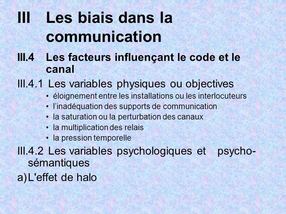III Les biais dans la communication
