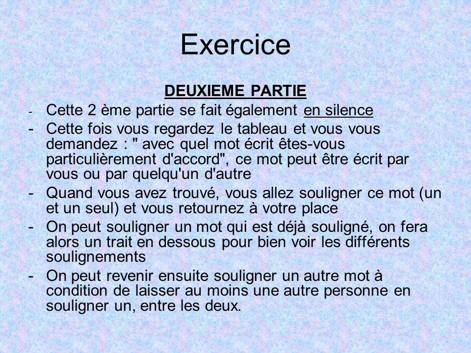 Exercice DEUXIEME PARTIE