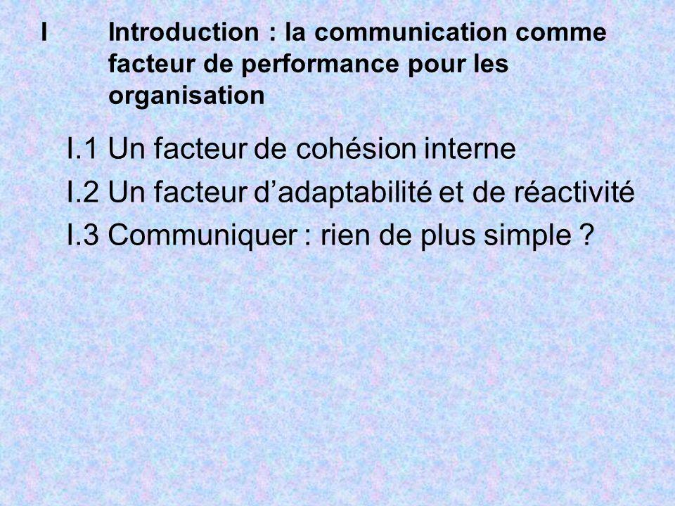 I.1 Un facteur de cohésion interne