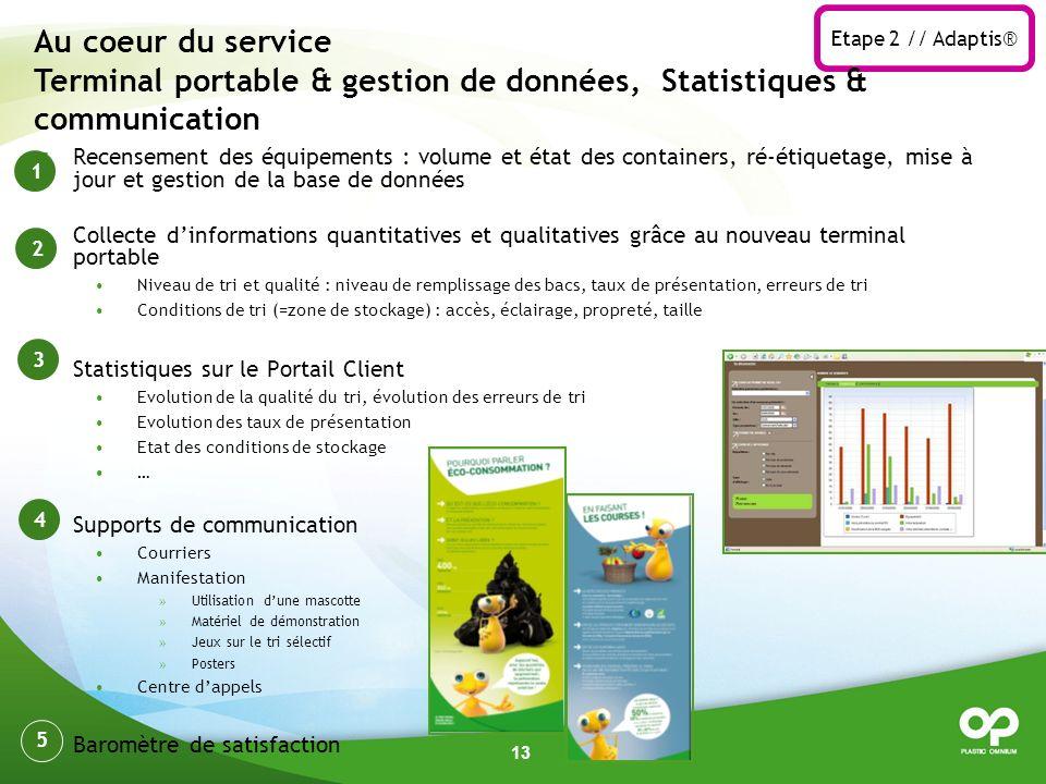 Etape 2 // Adaptis® Au coeur du service Terminal portable & gestion de données, Statistiques & communication.