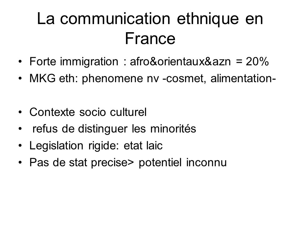 La communication ethnique en France