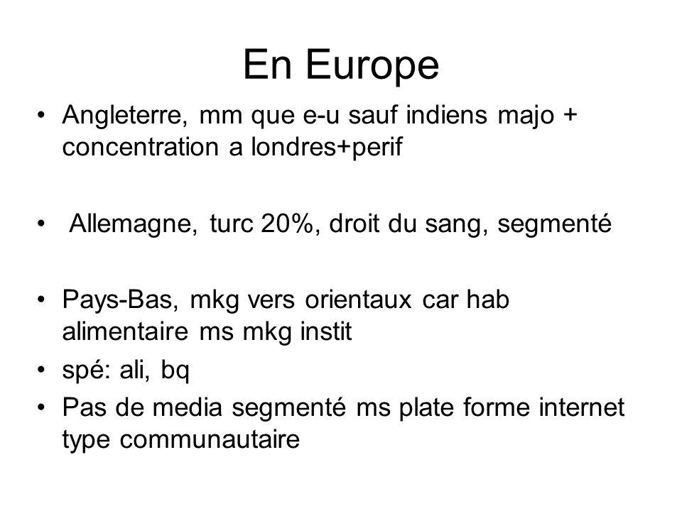 En Europe Angleterre, mm que e-u sauf indiens majo + concentration a londres+perif. Allemagne, turc 20%, droit du sang, segmenté.