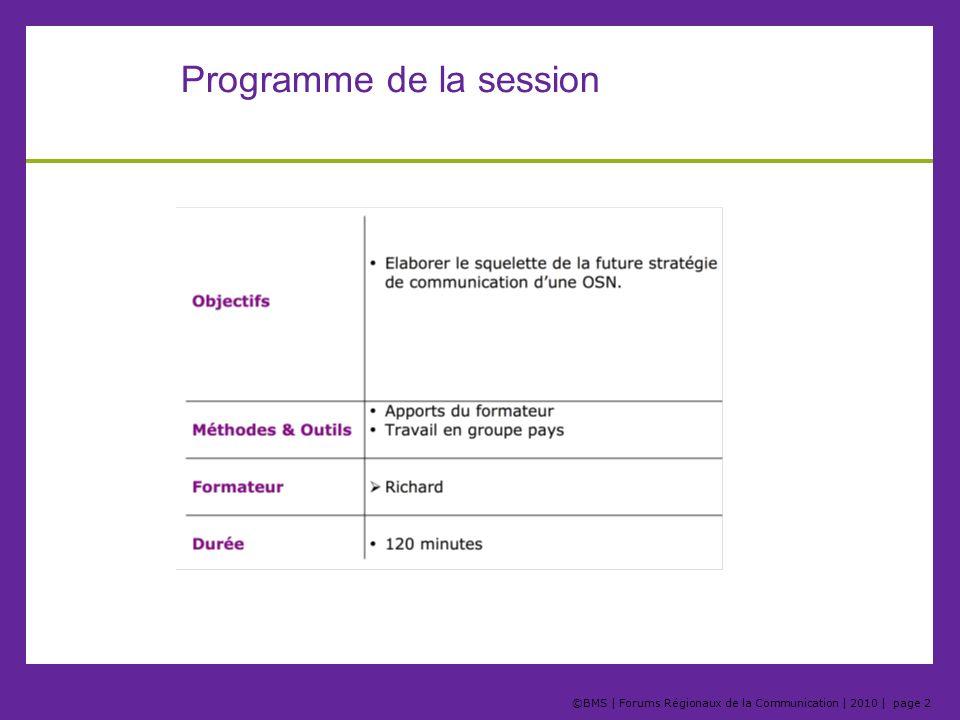 Programme de la session