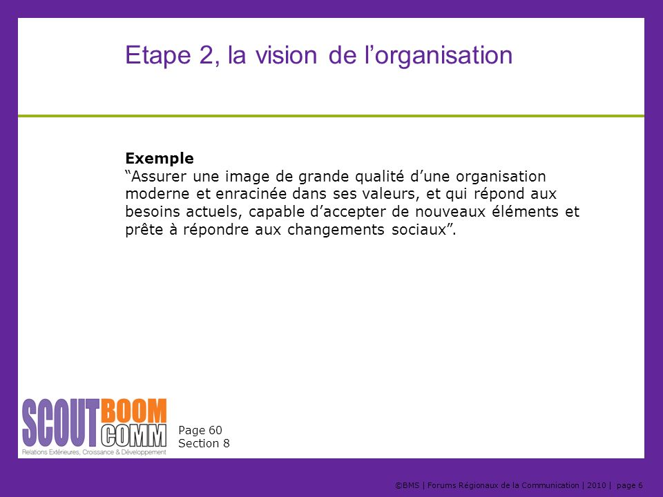 Etape 2, la vision de l'organisation