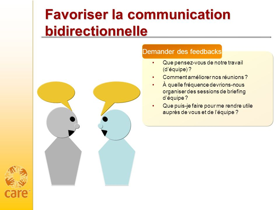 Favoriser la communication bidirectionnelle
