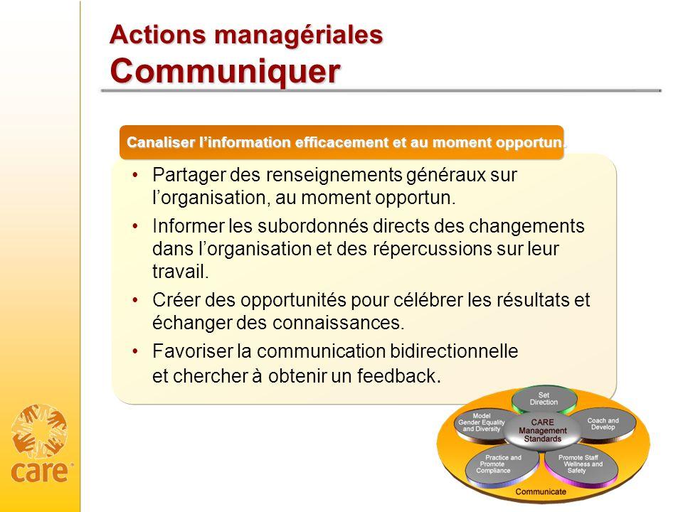 Actions managériales Communiquer