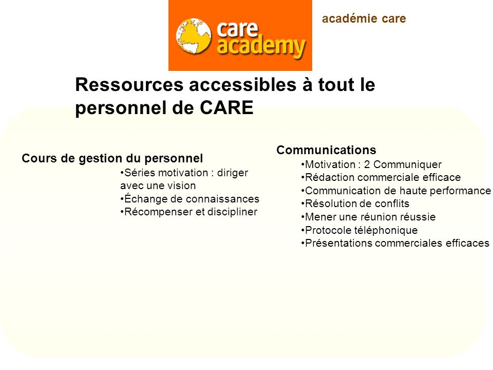 Ressources accessibles à tout le personnel de CARE