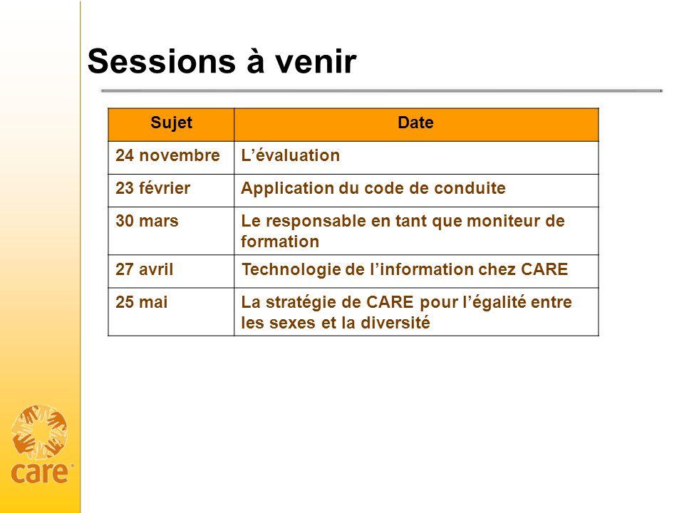 Sessions à venir Sujet Date 24 novembre L'évaluation 23 février